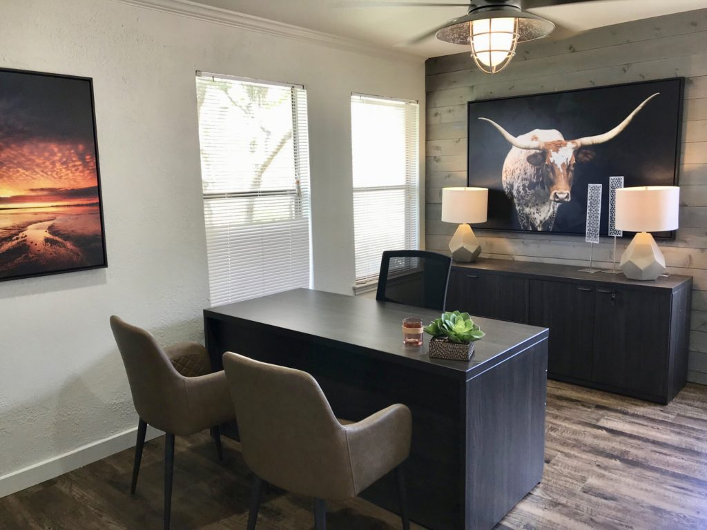So we were super excited to update this apartment leasing office in fort worth with a rustic modern design incorporating this beautiful longhorn art